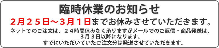臨時休業のお知らせ(2/25)